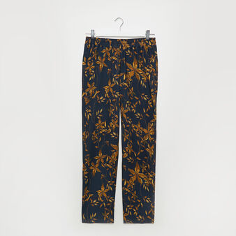 Floral print fabric trousers