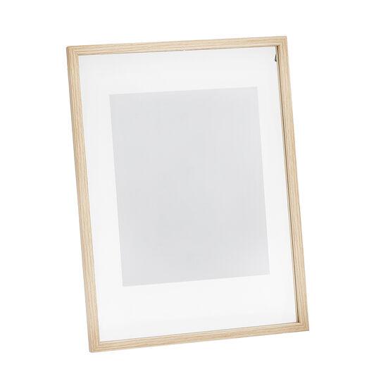Portafoto in vetro trasparente e cornice in legno