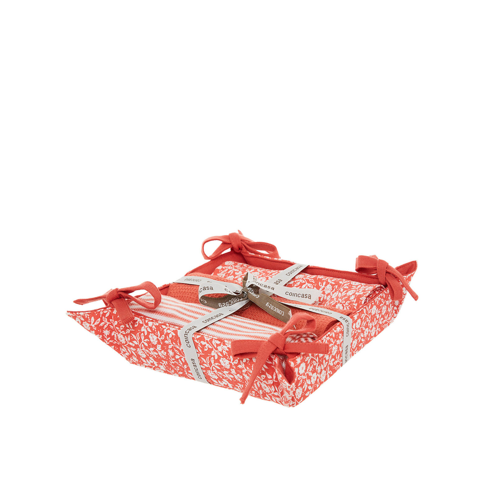 Set of 3 tea cloths and basket in double-sided cotton with print
