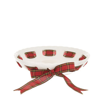 Ceramic bowl with tartan bow