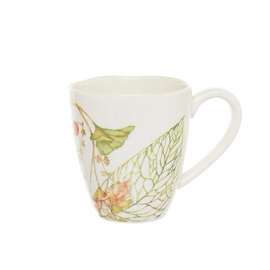 Mug in new bone China with flowers motif