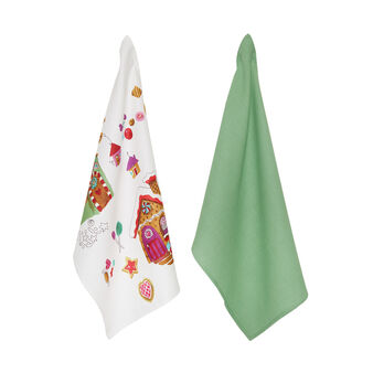 Two-pack 100% cotton tea towels with houses print by Sandra Jacobs design