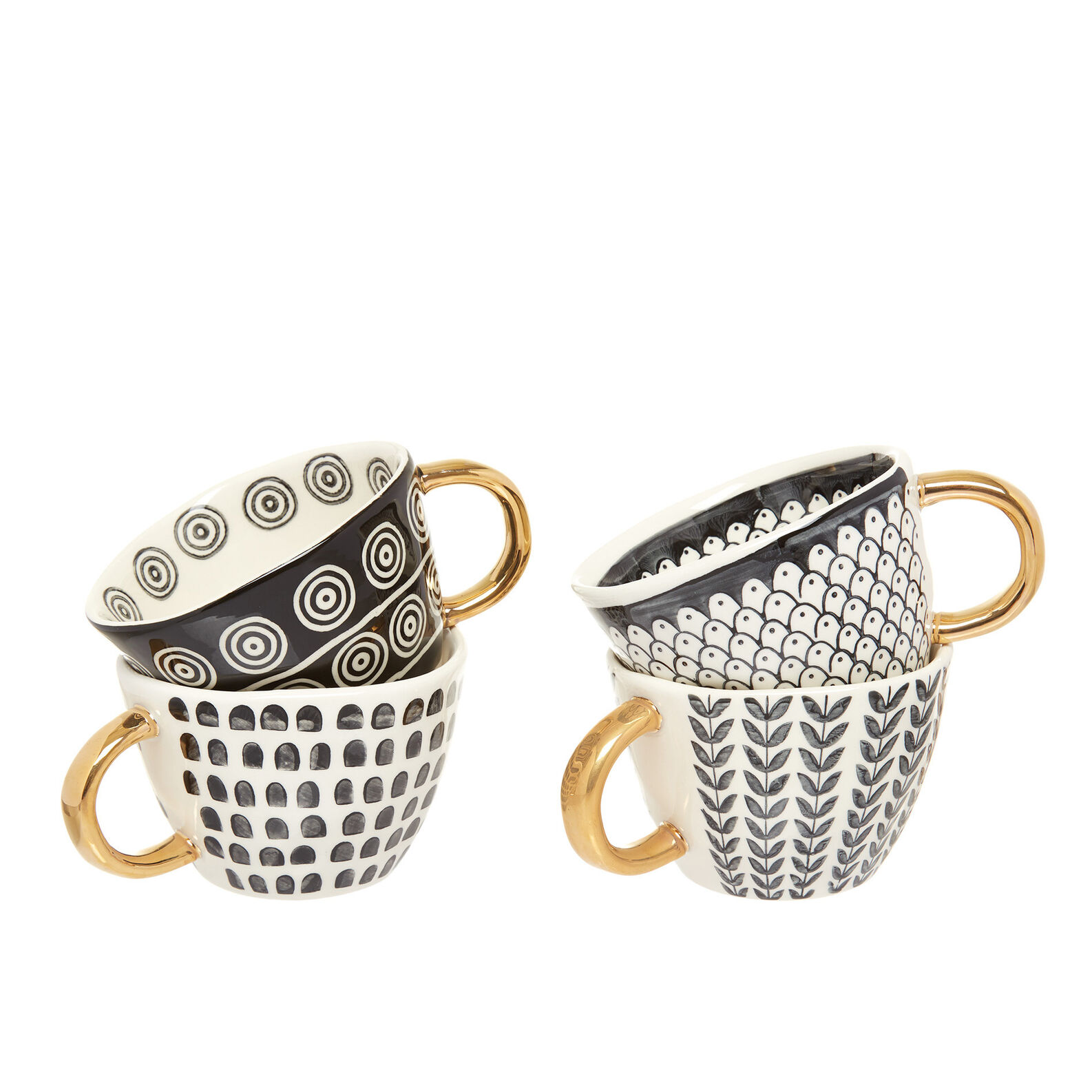 Jumbo cups in decorated stoneware