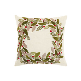 Cushion with garland embroidery