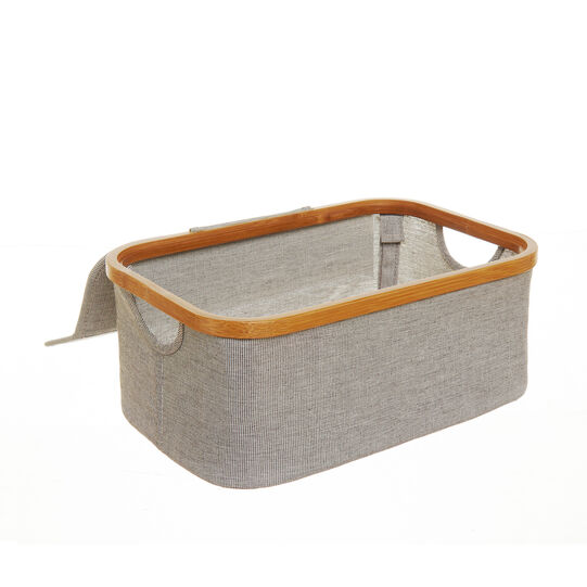 Cotton blend storage with bamboo edging