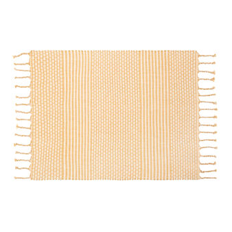 Ribbed table mat in 100% cotton with fringing