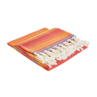 100% cotton throw with multiple stripes