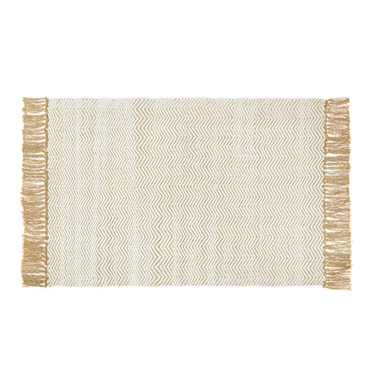 Jute and cotton mat with zigzag motif