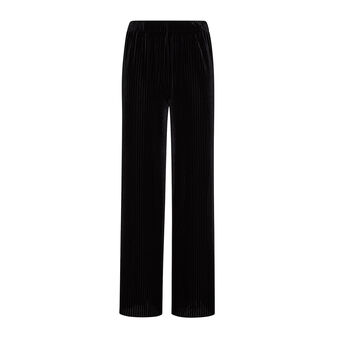 Soft high-waisted ribbed trousers