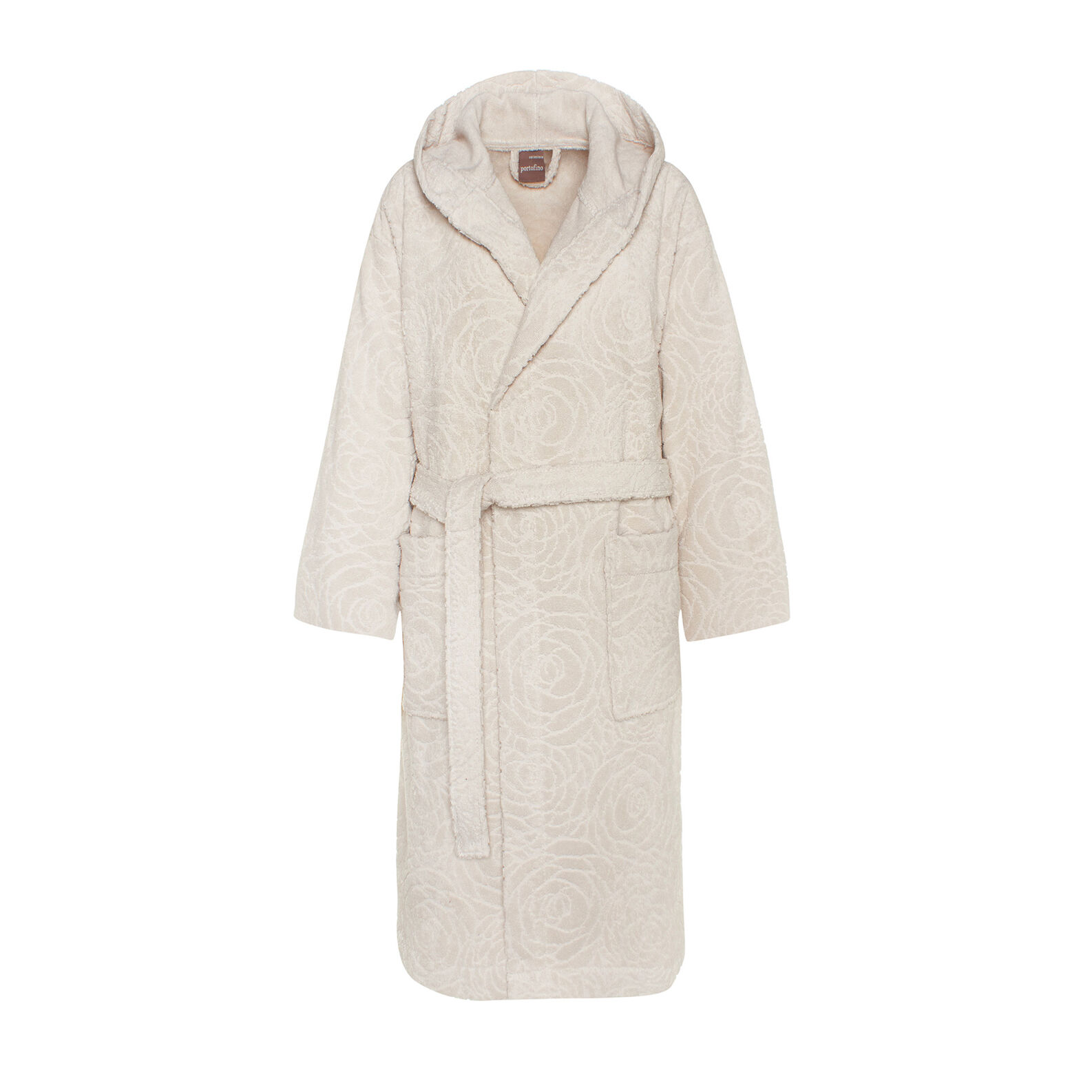 Portofino 100% cotton terry bathrobe with English roses