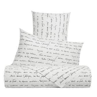 Cotton percale bed sheet set with poetry pattern