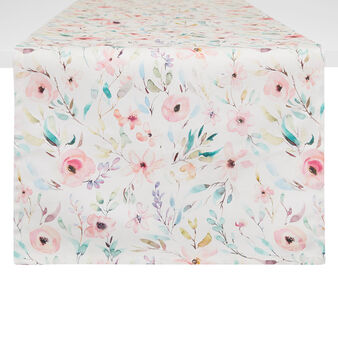 Cotton twill table runner with roses print