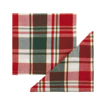 Set of 2 tartan napkins in cotton twill with lurex yarn