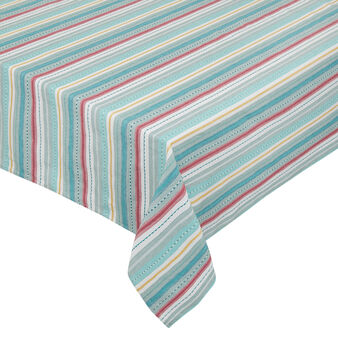 100% cotton tablecloth with striped embroidery