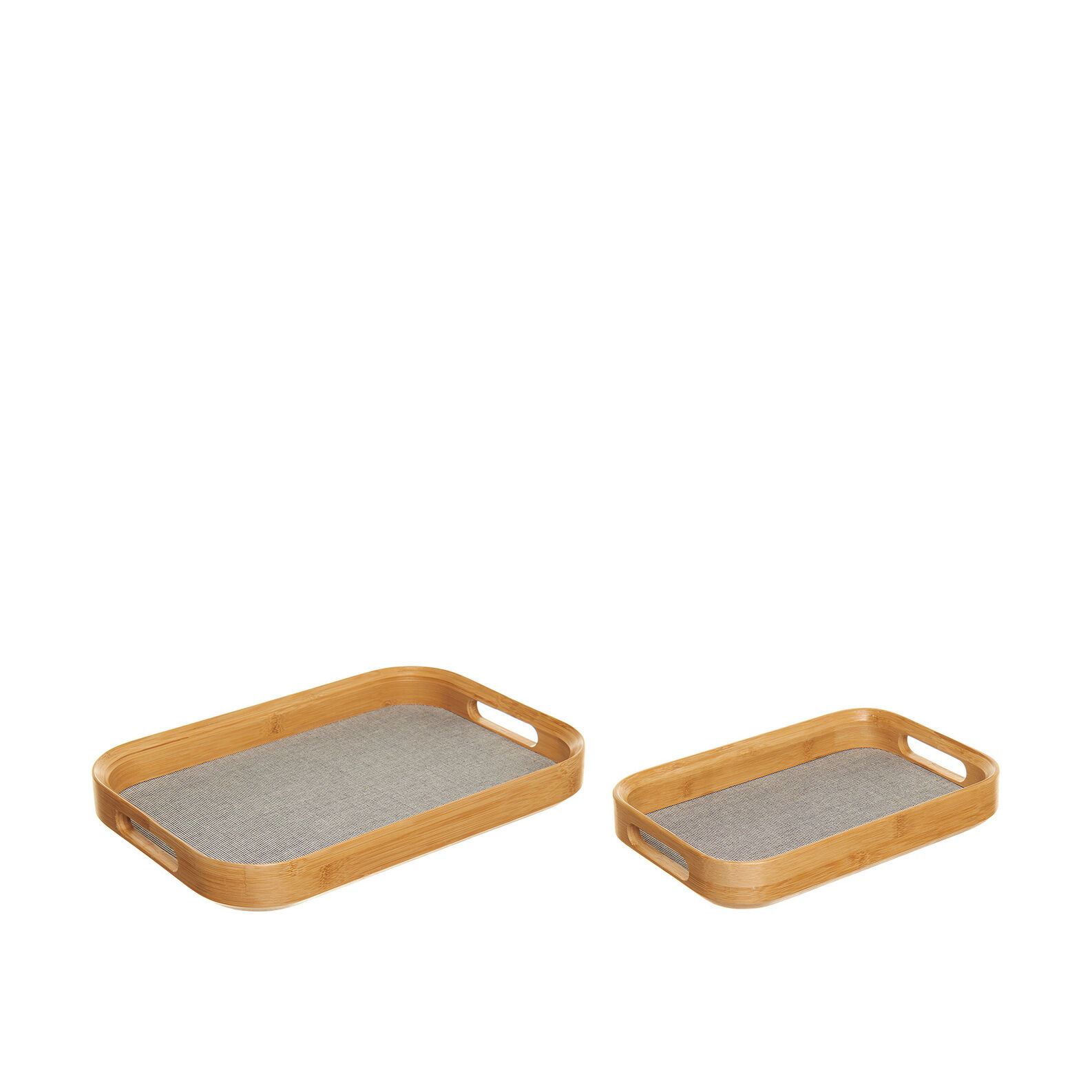 Rectangular tray in cotton and bamboo