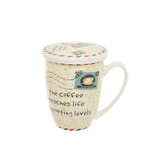 Infuser cup in new bone China with stamp decoration