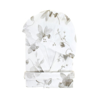 Portofino floral bathrobe in 100% cotton terry
