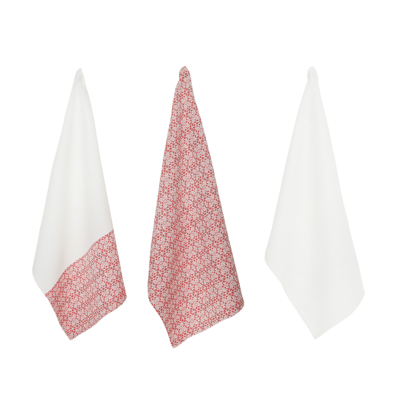 Set of 3 waffle weave tea cloths in 100% cotton and jacquard