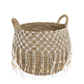 Hand-woven basket with bead decoration