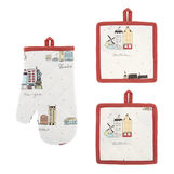 Set of 2 pot holders and an oven mitt in 100% cotton with city print