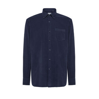Regular-fit button-down shirt in velvet