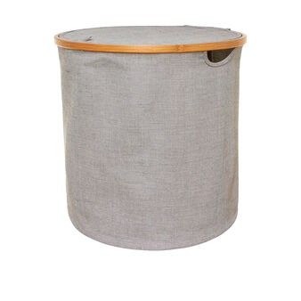 Round laundry basket in fabric and bamboo