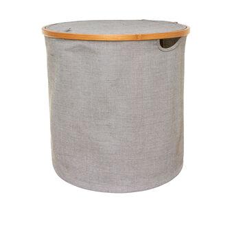 Portabiancheria rotondo in tessuto e bamboo