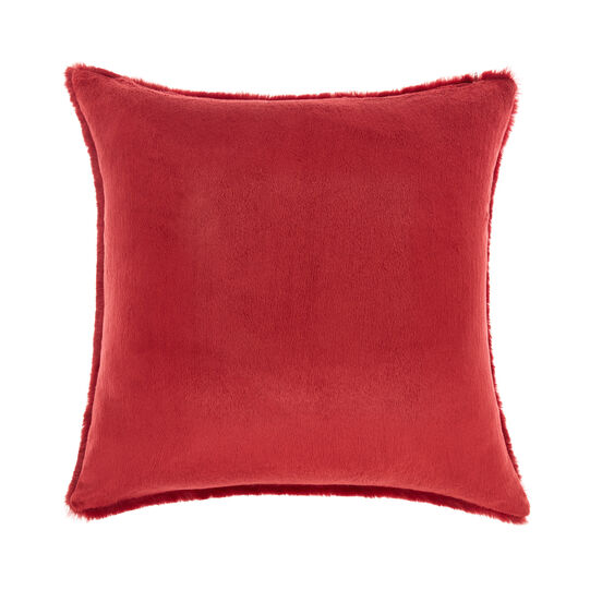 Solid colour fur-effect cushion 45x45cm
