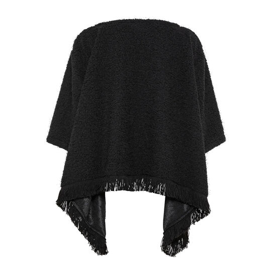 Poncho sweater with fringes