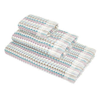 Cotton jacquard towel with multicoloured pattern