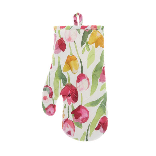 100% cotton oven mitt with tulips print