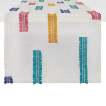 Linen blend table runner with applications