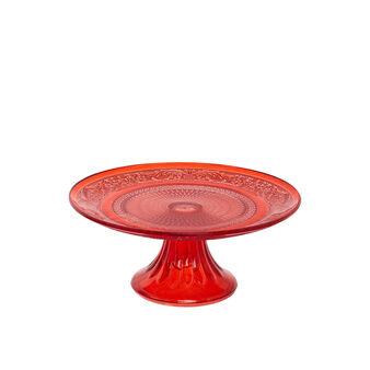 Alzata torta vetro rosso