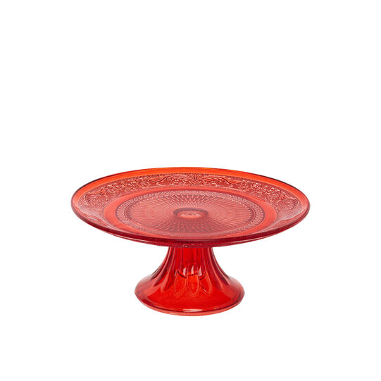 Red glass cake stand