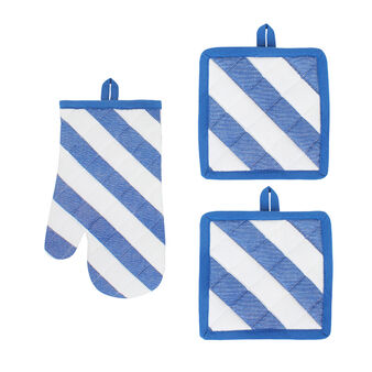 Set of kitchen mitt and two pot holders with diagonal stripes.