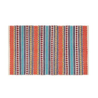 Handmade mat in striped cotton