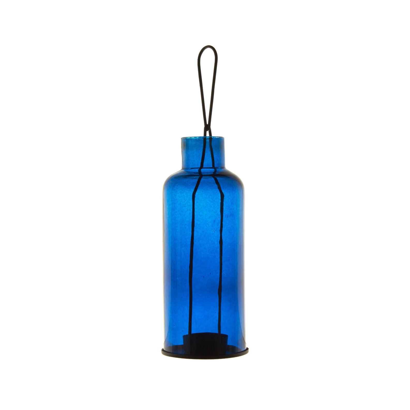 Porta tealight bottiglia vetro e metallo