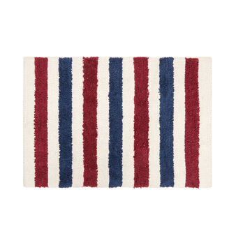 Striped 100% cotton bath mat