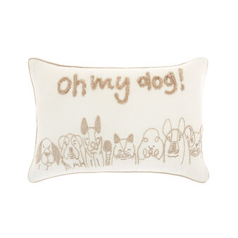 Cushion with embroidered dogs motif 35x50cm