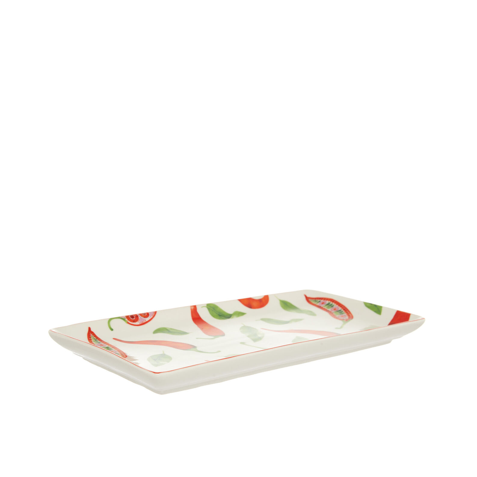 Tray in new bone China with chilli peppers decoration