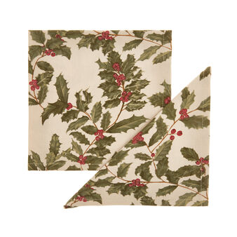 Set of 2 napkins in 100% cotton with glitter holly print