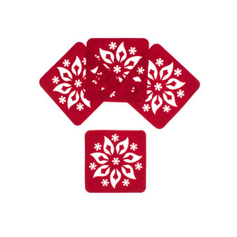 Set of 4 felt poinsettia drinks coasters