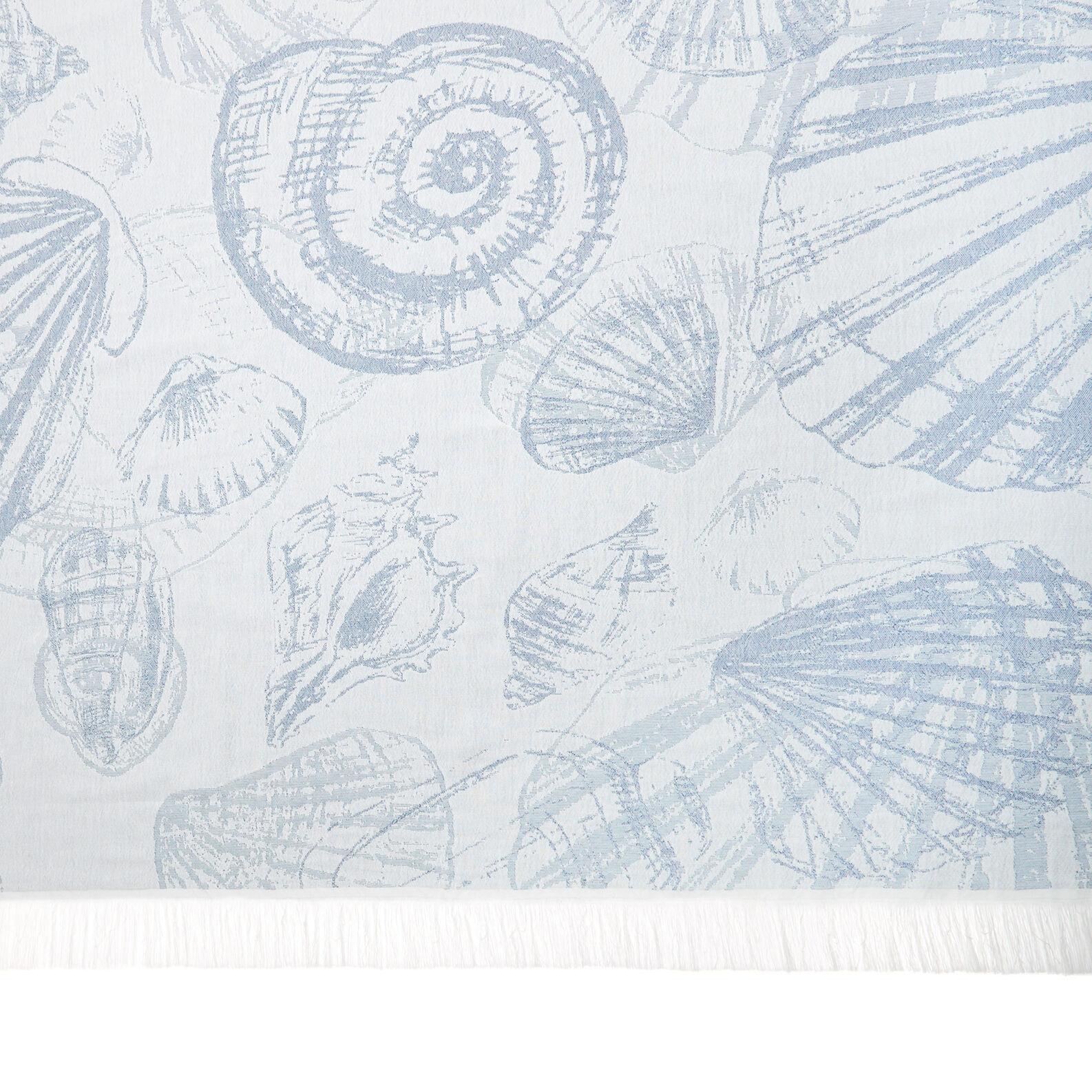 Cotton jacquard beach towel and sarong with shell design