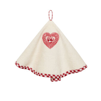Round tea towel in 100% cotton with heart embroidery