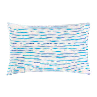 Cotton percale pillowcase with thin stripes