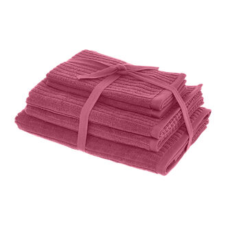 Set asciugamani puro cotone righe jacquard tinta unita