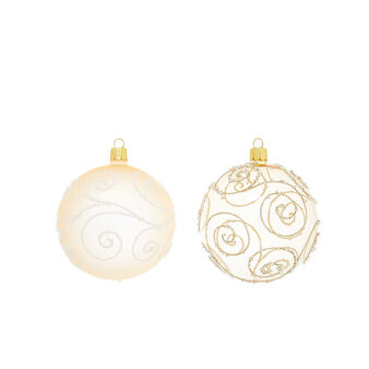 Bauble with swirls in hand-blown glass D8cm