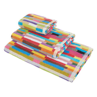 Yarn-dyed cotton towel with multicoloured stripes
