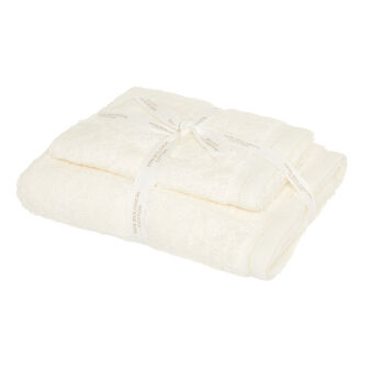 Set of 2 solid colour organic cotton towels