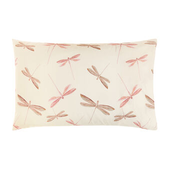 Pillowcase in cotton percale with dragonfly pattern